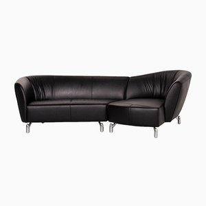Black Leather Corner Sofa from Leolux