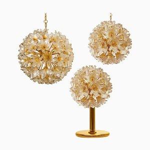 Messing und Gold Murano Glas Sputnik Lampen von Paolo Venini für VeArt, 1969, 3er Set