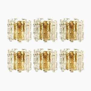 Ice Glass Wall Sconces with Brass Tone by J.T. Kalmar, Austria, 1960s, Set of 6
