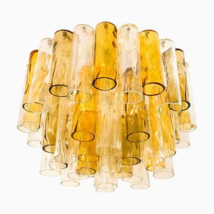 Large Ocher and Clear Glass Tubes Chandelier from Barovier & Toso, 1960s