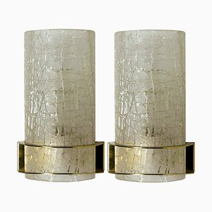 Crackle Glass Wall Light Fixtures from Hillebrand, 1960s, Set of 2