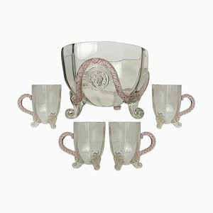 Venetian Murano Glass Set with Lion Mask Attributed to Salviati, 1890, Set of 5