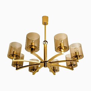8-Icicle Glass Shades and Brass Chandelier from Kaiser, 1960s
