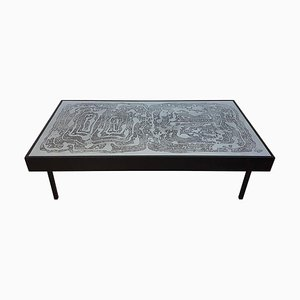 Vintage Acid Etched Aluminum Coffee Table by Bernhard Rohne, 1960s
