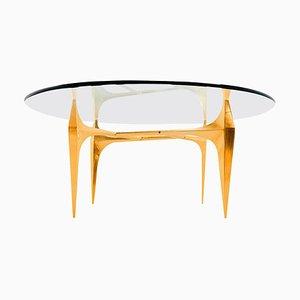 Table Basse ou d'Appoint Sculpturale en Laiton par Knut Hesterberg, 1960s