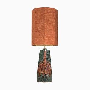 Lampe de Bureau en Céramique avec Abat-Jour en Soie par Bernard Rooke, 1960s