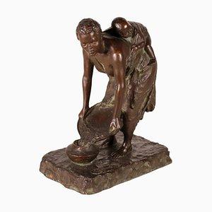 Jeune Femme Vintage en Bronze avec Enfant par GB Ricci, Italie