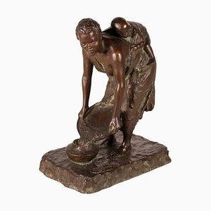 Vintage Italian Bronze Young Woman with Child by G.B. Ricci