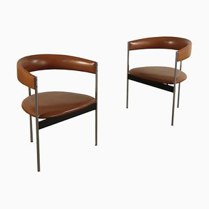 Foam, Metal & Leatherette Chairs by Dieter Wäckerlin for Idealheim, 1960s, Set of 2