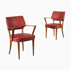 Beech Spring and Leatherette Armchairs, Italy, 1950s, Set of 2
