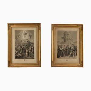 19th Century Italian Wooden Frames with Printing, Set of 2