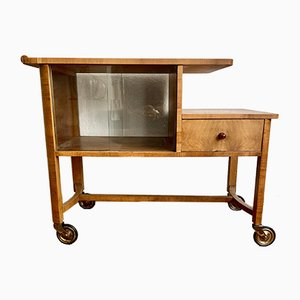Mid-Century Wooden Bar Trolley with Glass Doors on Wheels