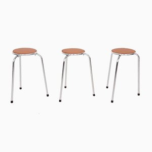Chrome Stools with Cognac Leather Seating, 1960s, Set of 3