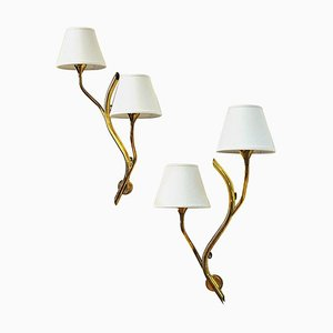Mid-Century Norwegian Brass Branch Wall Lights from Astra, 1950s, Set of 2