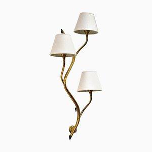 Lámpara de pared noruega Mid-Century con rama de latón de Astra, años 50
