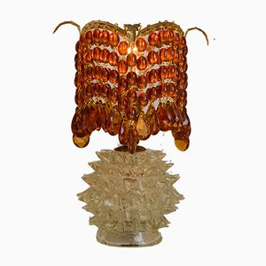 Lampada da tavolo Art Deco in vetro di Murano con perle in vetro rosso di Ercole Barovier per Barovier & Toso, anni '30