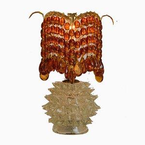 Lampe de Bureau Art Deco en Verre de Murano avec Perles en Verre Rouge par Ercole Barovier pour Barovier & Toso, 1930s