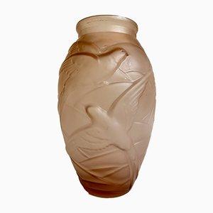 Vase Art Déco en Verre Moulé par Souchon Neuvesel, 1920s