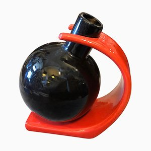Postmodern Italian Red and Black Ceramic Vase by Ettore Sottsass, 1980s