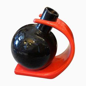 Postmodern Italian Red and Black Ceramic Vase by Ettore Sottsass, 1980s