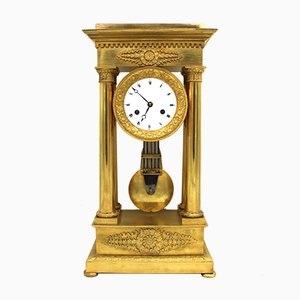 19th Century Empire Gilt Bronze Portico Pendulum Clock