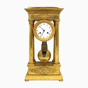 Horloge Pendule Portico Empire en Bronze Doré, 19ème Siècle