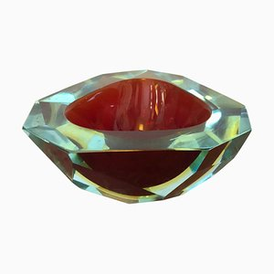 Mid-Century Sommerso Faceted Murano Glass Ashtray from Seguso, 1970s