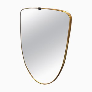 Mid-Century Italian Brass Mirror in the Style of Gio Ponti, 1950s