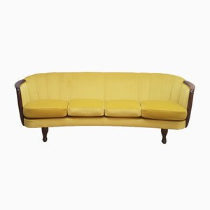 French Rosewood and Golden Velvet Curved 4-Seater Sofa, 1950s