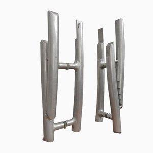 Cast Aluminum Door Handles, 1980s, Set of 2