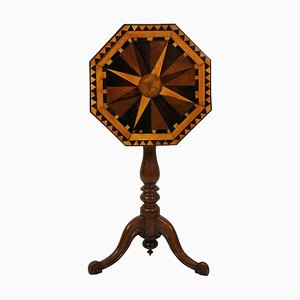 Antique Geometric Marquetry Side Table