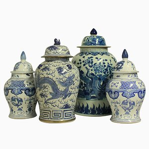 Large Chinese Vases with Covers, 1950s, Set of 4