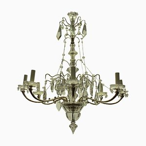 French Silver and Cut Glass Chandelier, 1930s
