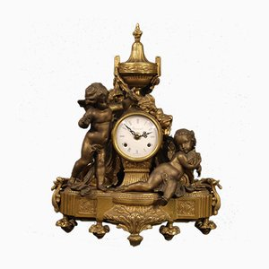 French Gilt Bronze and Antimony Clock, 1950s