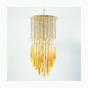 Lampada da soffitto vintage in vetro bianco e oro di Mazzega, anni '60
