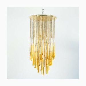 Vintage Deckenlampe aus Glas in Weiß & Gold von Mazzega, 1960er