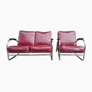 Juego de sofá y butaca estilo Bauhaus, años 50