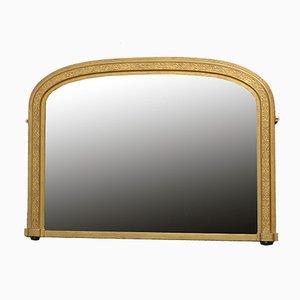Viktorianischer Vergoldeter Overmantel Spiegel