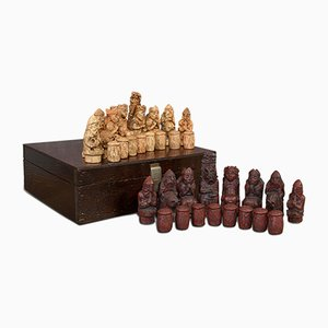 Vintage English Stone and Resin Chess Set, 1990s
