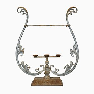 Vintage Art Nouveau Style French Cast Iron Outdoor Plant Stand, 1950s