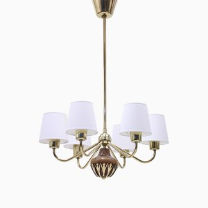 6-Light Ceiling Lamp Attributed to ASEA, 1950s