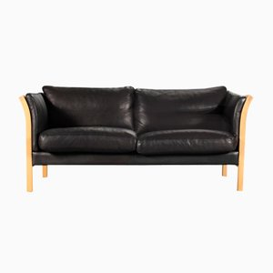 Danish 2-Seater Black Leather Sofa, 1970s