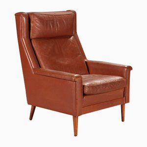 Danish Brown Leather Armchair, 1960s