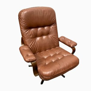 Danish Brown Leather Swivel Chair, 1970s