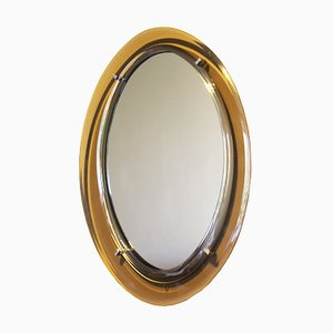 Vintage Italian Oval Mirror in the Style of Cristal Art, 1970s