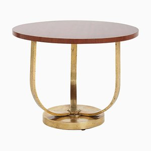 Art Deco Bronze and Mahogany Side Table, 1940s