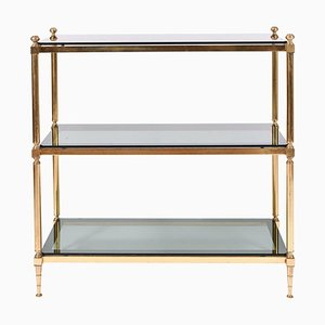 Vintage Brass and Smoked Glass Etagere, 1950s