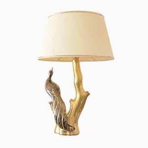 Hollywood Regency Peacock Table Lamp by Willy Daro, 1970s
