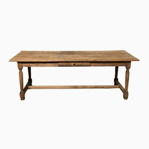 Large Antique French Oak Farmhouse Table with Drawers