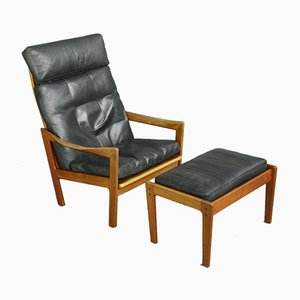 Lounge Chair and Ottoman Set by Illum Wikkelsø for Niels Eilersen, 1960s